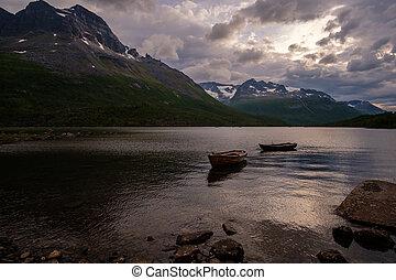 山, 野生, ボート, 湖, 釣り, innerdalen