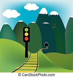 山, 鐵路, 風景