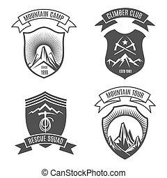 山, 集合, retro, 徽章