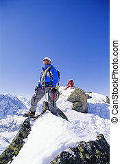 山, 雪が多い, 男性, 若い, ピークに達しなさい, 上昇