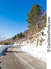 山, 雪, 道, きれいにされる