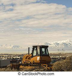 山, 雪, 黃色, loader, 高達, 看法, 湖, 空, 小山