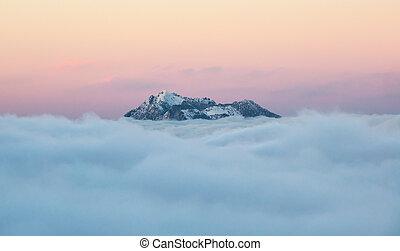 山, 雲, 冬, ピークに達しなさい, の上, 日の出