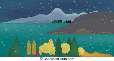 山, 雲, 抽象的, 空, 湖, イラスト, 森林, 下に, 雨, 曇り, 風景