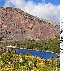 山, 青, tioga 湖, 巨大, 赤