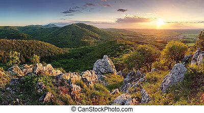 山, -, 頂峰, 傍晚, 斯洛伐克