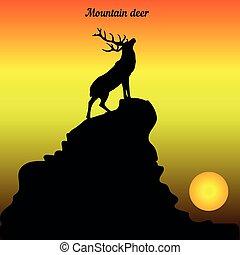 山, 頭, 彼の, 上げられた, 上, 鹿, イラスト, 日の出