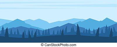 山, 風景, 前景, シルエット, 木