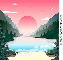 山, 風景, 夜明け, 湖
