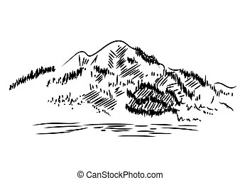 山, 風景。, 插圖, 手, 矢量, 畫