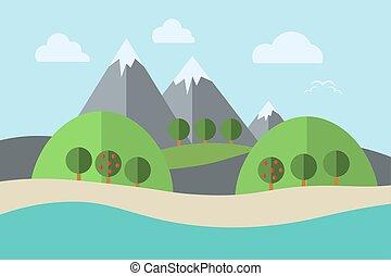 山, 風景, 木, イラスト, ベクトル, 水