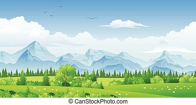 山, 風景, 木, パノラマ