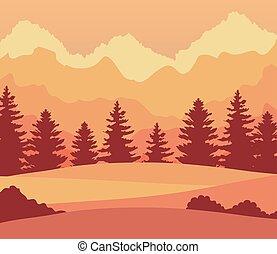 山, 風景, 木, 松, 瞬間, 日没