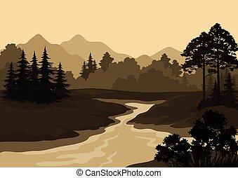 山, 風景, 樹, 河