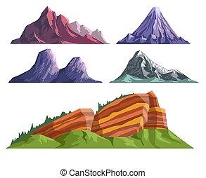 山, 風景, 火山, セット, コンストラクター, 様々, 睡眠