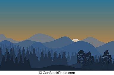 山, 風景, 自然, 抽象的, 木, シルエット, 森林, 背景