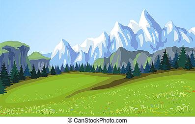 山, 風景。