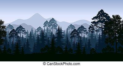 山, 風景, seamless, 木