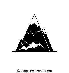 山, 風格, 黑色半面畫像, 套間, 冰, 頂峰, 圖象