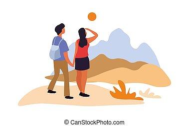 山, 风景。, 年轻夫妇, 钦佩