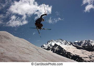 山, 飛行, スキーヤー