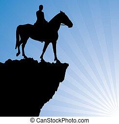 山, 馬, 人, ベクトル, 上
