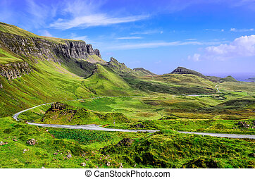 山, 高地, 道, スコットランド, quiraing, 光景