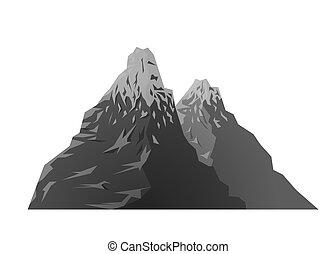 山, 黑色半面畫像, 多雪, 黑色, retro, 白色