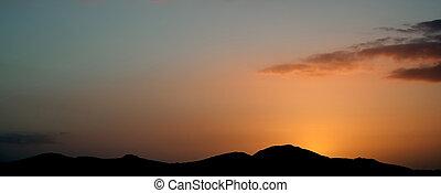 山, 黑色半面畫像, vivd, 全景, 針對, 傍晚, 風景