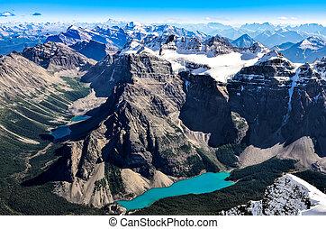山, banff, 範囲, 山, 湖, 氷堆石, 寺院, 光景