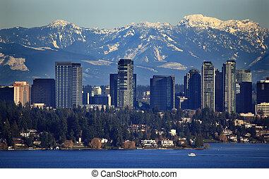 山, bellevue, 雪が多い, ワシントン, 湖, 滝, 州