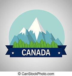 山, canadian, 場景, 雪