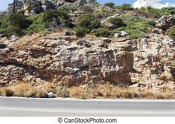 山, crete., 道, アスファルト, 島