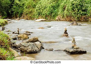 山, dao, 銀行, rainforest., thailand., chiang, 川, 石, 光景