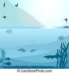 山, fish, 湖, 鳥