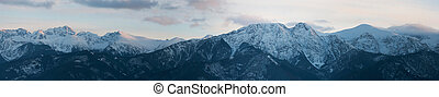 山, giewont), gubalowka, パノラマである, 日没, tatra, (kasprowy, 光景, ...