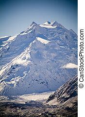 山, glacier., tasman, 氷, 水, 雪, 大いに, 岩