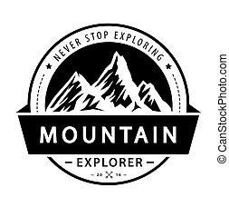 山, illustration., emblem., ベクトル, レトロ, ロゴ, 冒険