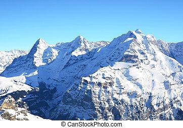 山, jungfrau, moench, 有名, ピークに達する, スイス人, eiger