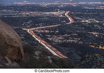 山, los, 夕闇, アンジェルという名前の人たち, 光景, 高速道路