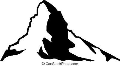 山, matterhorn, 黑色半面畫像