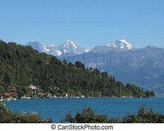 山, moench, jungfrau, スイス, 湖, 有名, ピークに達する, thun., eiger