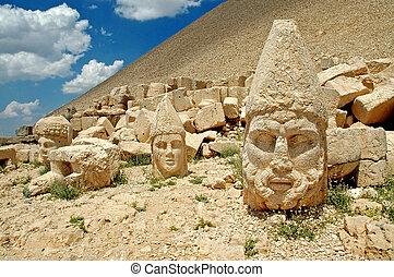山, nemrut, 彫像, トルコ
