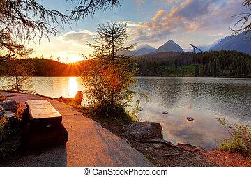 山, pleso, -, 湖, スロバキア, strbske, 日没