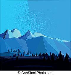 山, poly, ベクトル, 低い, 風景