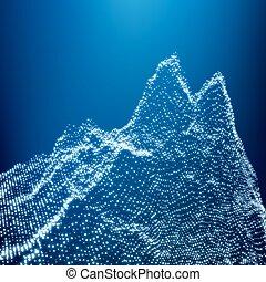 山, poly, 低い, 幾何学的, 風景, 3d