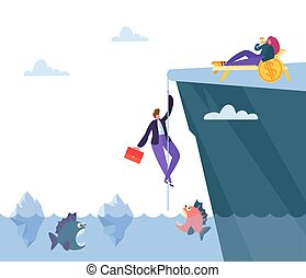山, prosperity., 財政, 方法, 危険, お金, fish, 懸命に, 平ら, ファインド, ベクトル, イラスト, の上, ビジネスマン, 上昇, 略奪する, 漫画, 海, bonanza.