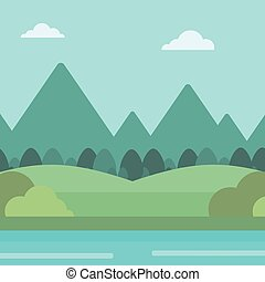 山, river., 風景, 背景
