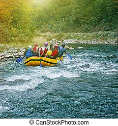 山, river., carpathian, いかだで運ぶこと