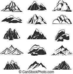山, symbols., シルエット, キャンプ, 山, hills., 抽象的, ハイキング, ラベル, 雪, 紋章, 範囲, ベクトル, セット, alpen, 探検